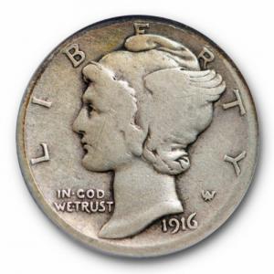 1916 mercury dime no mint mark